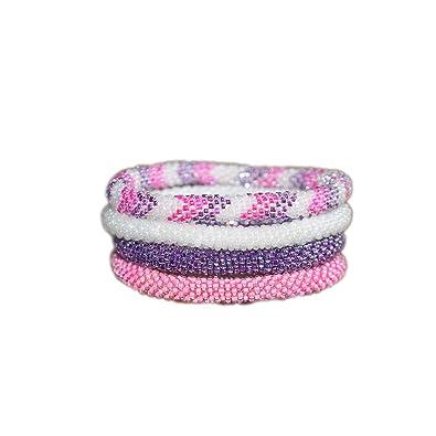 e10de9759ef22 Amazon.com: Nuptse Purple White and Pink Handmade Beaded Bracelets ...