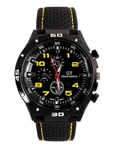 Fanmis GT Racer Reloj Deportivo Militar Piloto Aviador Ejército Estilo Negro Silicona Amarillo Hombres del reloj: Amazon.es: Relojes