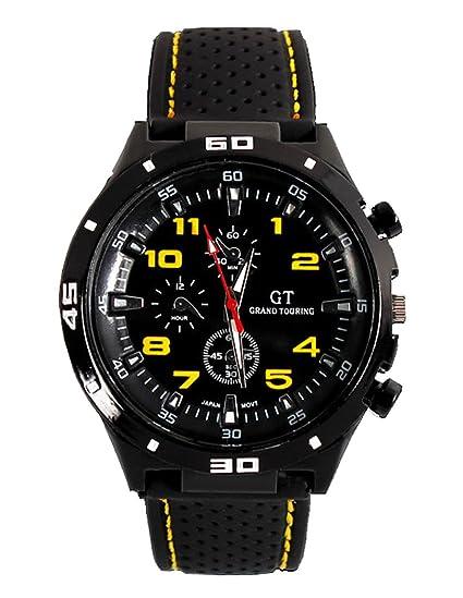 Fanmis GT Racer Reloj Deportivo Militar Piloto Aviador Ejército Estilo Negro Silicona Amarillo Hombres del reloj
