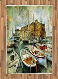 Marine Area Rug by Ambesonne, Naples Small Boats at Historical Italian Coast with Heritage Castle Nautical Artwork, Flat Woven Accent Rug for Living Room Bedroom Dining Room, 4 x 6 FT, Multicolor