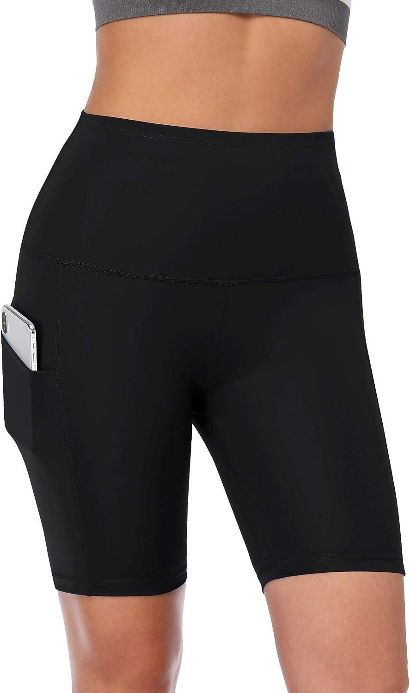 Cadmus Women's High Waist Spandex Yoga Shorts for Bike Running Two Side Pockets: Clothing