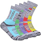 YUEDGE Women's 5 Pairs Wicking Cushion Anti Blister Outdoor Crew Socks for Hiking Walking Running Climbing Backpacking Skiing Year Round(L)