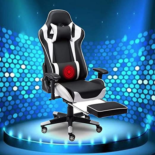 Home Office Chairs with Footrest and Lumbar Support Leather Desk Gaming Chair High Back Adjust Seat Height for Back Pain Black Chair Mat