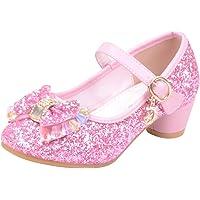 Mitlfuny Zapatos de Tango Latino para Niños Vestir Fiesta Arco Princesa Sandalias Perla Rhinestone Lentejuelas Zapatitos…