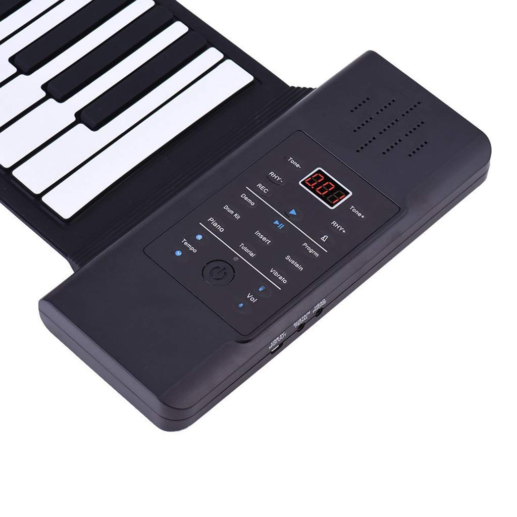 Thickened Roll Up Piano Folding Silicone Hand Roll Keyboard Electronic Digital Piano Keyboard Multifunction 88-Key, Black by Anyer Piano (Image #6)