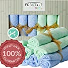 "EXTRA LARGE Baby Washcloths 100% Organic Bamboo Towels 12""x12"" with Hook by Forstyle baby, Perfect Gift for Sensitive Care, Dual Sided, Baby Bath Washcloth 6 Pack No Dyes, Eczema & Sensitive Skin. Boy"