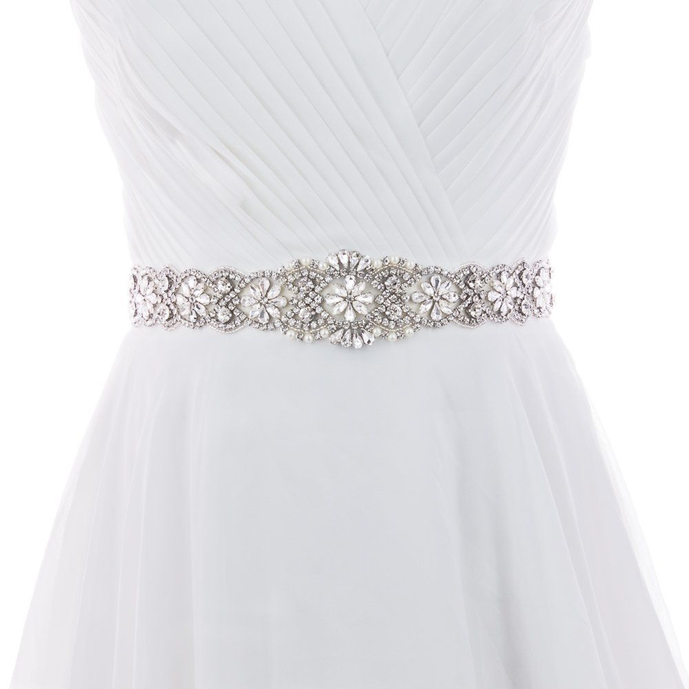 Azaleas Women's Crystal Wedding Belt Sashes Bridal Sash Belt for Wedding (White)