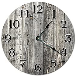 10.5 RUSTIC WOODEN BOARDS DESIGN Clock - Large 10.5 Wall Clock - Home Décor Clock