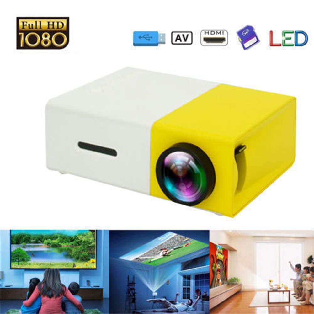 ミニプロジェクター、ポータブルLEDプロジェクター、ビデオ/映画/ゲーム/ホームシアタービデオプロジェクター(黄色)用のAV USB SD HDMI付きスマートフォンポケットプロジェクター B07MMSVHNL