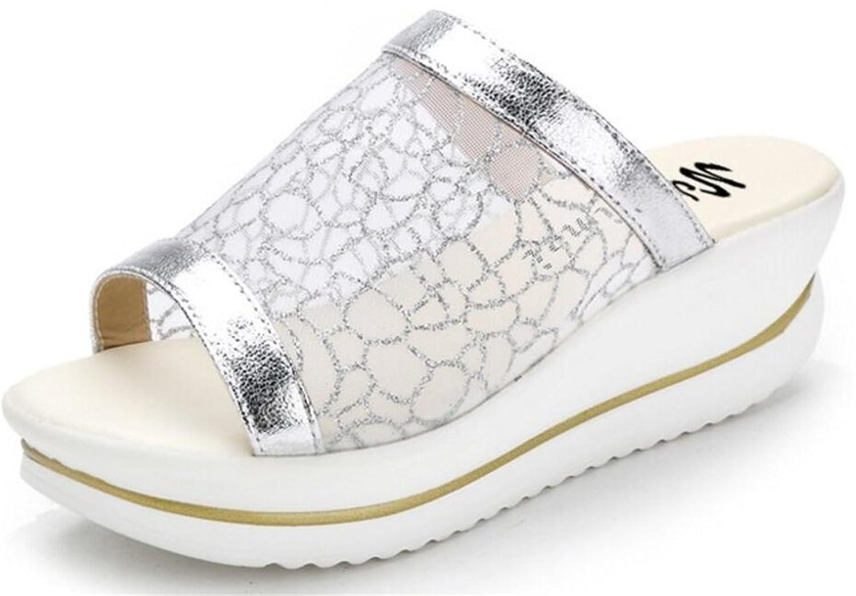 8988f405d933 ACE SHOCK Women s Pierced Mesh Platform High Heel Flip Flops Sandals Simple  Slippers