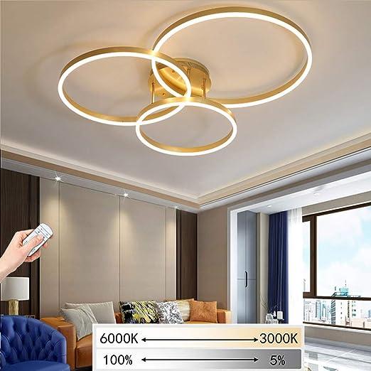 LED Luxus Decken Lampe GOLD Design Leuchte dimmbar Fernbedienung Wohn Zimmer