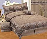 7 - Piece Neutral Brown Tapestry Style Wild Horse western Bed In A Bag Full Size Bedding - Lodge, Cabin, Home, RV, Children's Room, Master Bedroom, Guest Room