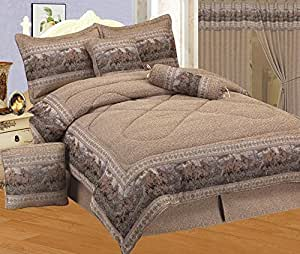Amazon Com 7 Piece Neutral Brown Tapestry Style Wild