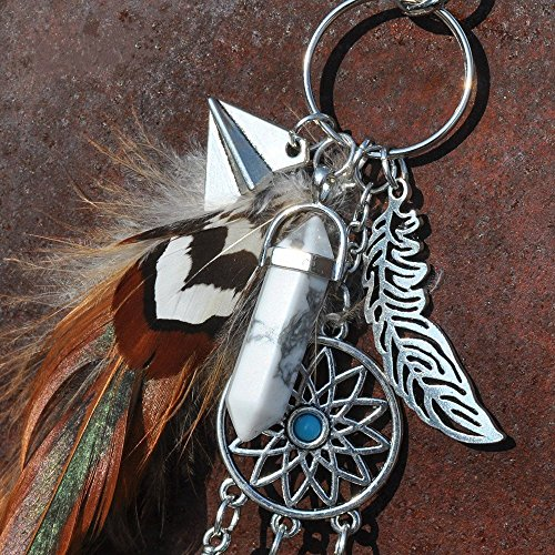 Dremisland keychain keyring natural opal stone dreamcatcher keyring fashion silver boho ornament feather keychainvv (Brown) Photo #4