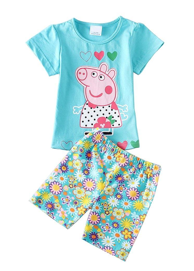 LEMONBABY Little Boys Girls Summer Peppa Pig Cotton Pajamas T-Shirt Short Pants Sets