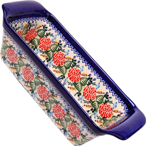 (Polish Pottery Ceramika Boleslawiec Bread Meatloaf Baker, 6-Cups, Royal Blue Patterns)