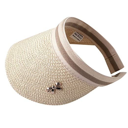 9ec808cf Amazon.com: Sun Visor Hats for Women, Sunyastor UV Protection Beach Cap  Outdoor Adjustable Cap Summer Sunscreen Sun Hat Mesh Straw Hat Beige:  Clothing