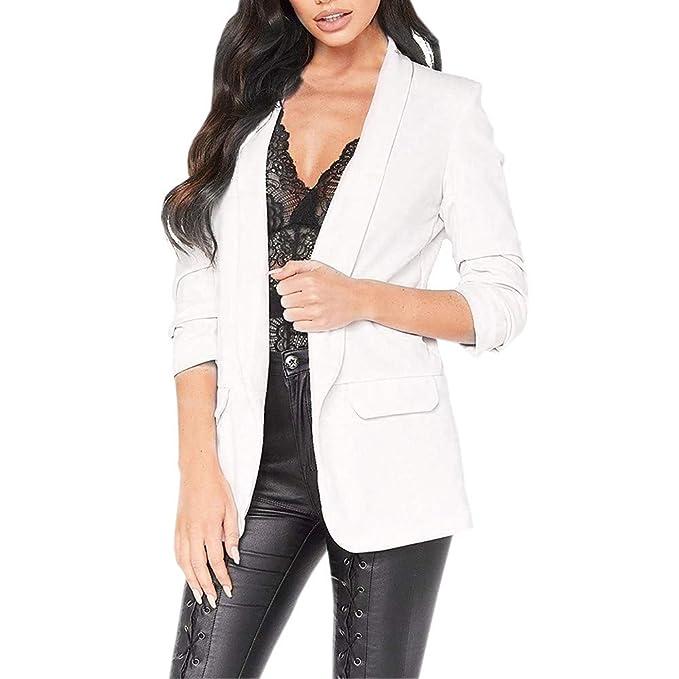 5355452342 Luckycat Moda para Mujer Estilo OL Blazer de Manga Larga Elegante Traje  Delgado Escudo Casual (