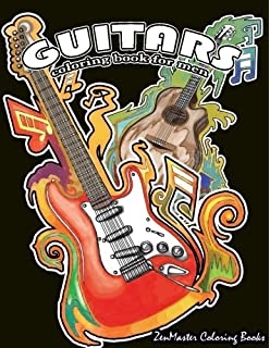 Guitars Coloring Book For Men Mens Adult Of And Other String Instruments