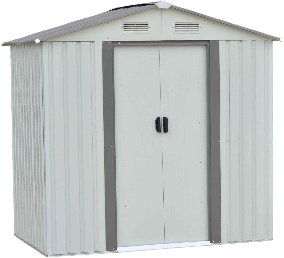 Metal Garden Tools stored in Persistent Storage Yard Maintenance-Free All-Weather Waterproof Metal Garden shed,5 x 4