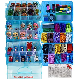 HOME4 No BPA 60 Adjustable Compartments Stackable Storage Organizer Carrying Case Compatible with Small Dolls, Beyblade, Hot Wheels LOL,Toys Not Included, Bonus Sticker Blue Glitter