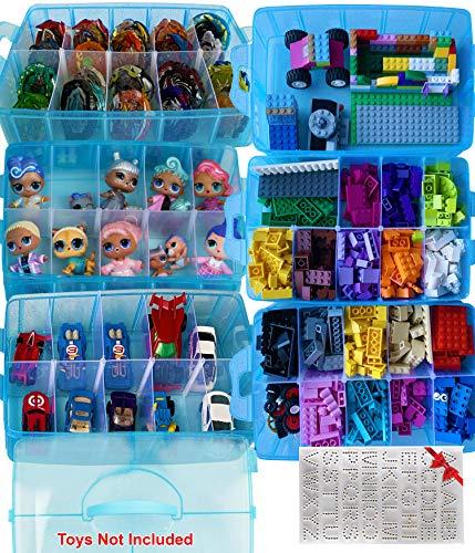 HOME4 No BPA 60 Compartimentos ajustables 6 capas Organizador de contenedores de almacenamiento apilable Estuche de exhibición de transporte, Compatible con juguetes pequeños LOL, Shopkins, OMG (Muñecas no incluidas) (Azul)