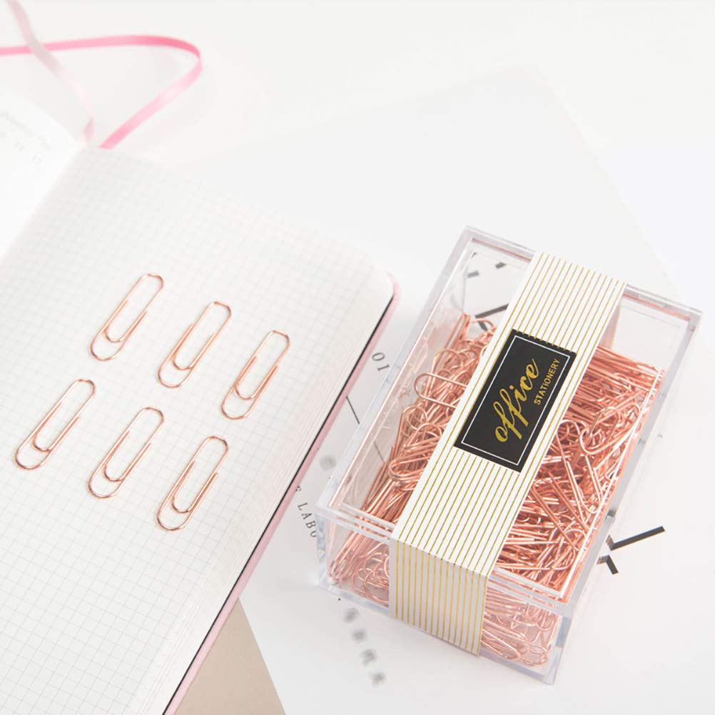 Rose Gold Paper Clips, Topgogo 200pcs 28mm Large Paper Clips Non-Skid Smooth Finish Steel Wire Medium Office Supply Accessories