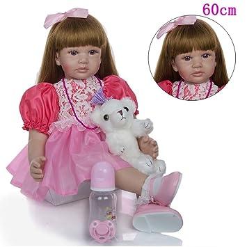 "Silicone 18/"" Long Hair Girl Lifelike Doll Silicone Vinyl Reborn Baby Newborn"