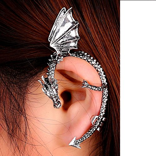 Usstore 1PC Women's Gothic Punk Temptation Metal Dragon Bite Ear Stud Earrings Jewelry Gift (Silver) (20ct Princess Cut Diamond)