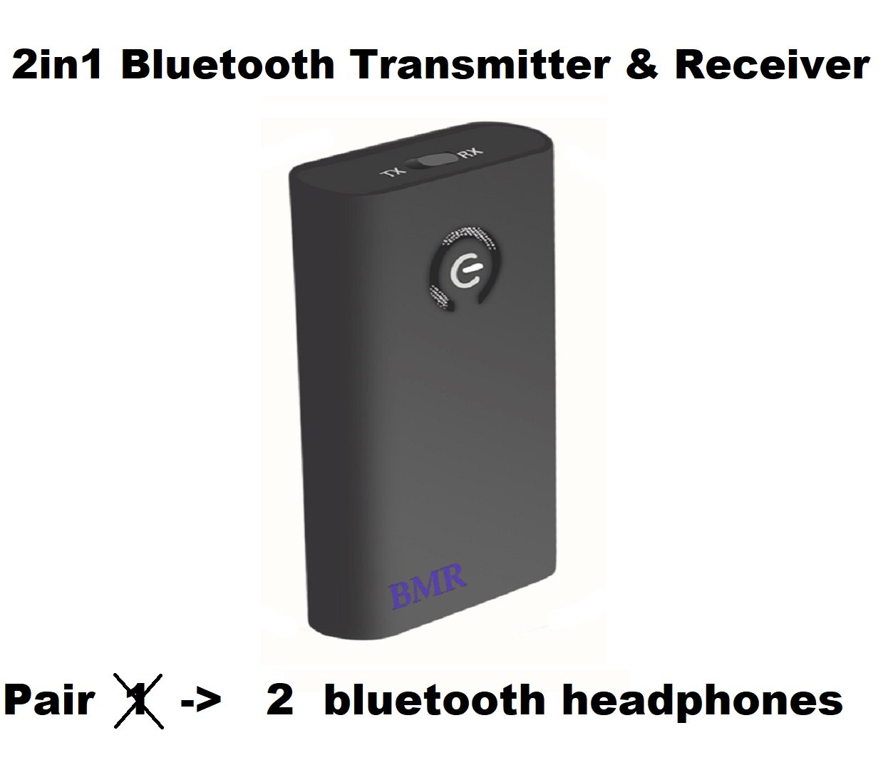 Bluetooth A2DP Wireless Portable Transmitter and Receiver (Connect to 3.5mm Audio Devices, Pair with Bluetooth Receiver, Earphone, TV, Bluetooth Dongle) by Formartti