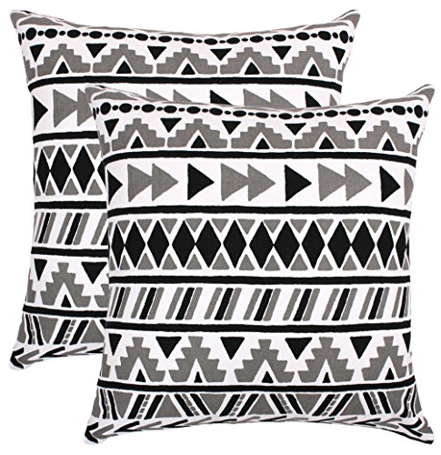 Isabella Beddings Decorative Throw Pillowcase Sturdy Cotton Fabric Tribal Plaid Printed Geometric Cushion Cover for Couch Sofa Chair Bed 18x18 Inches- Set of 2 Accent Decor Cushion Shams- Black