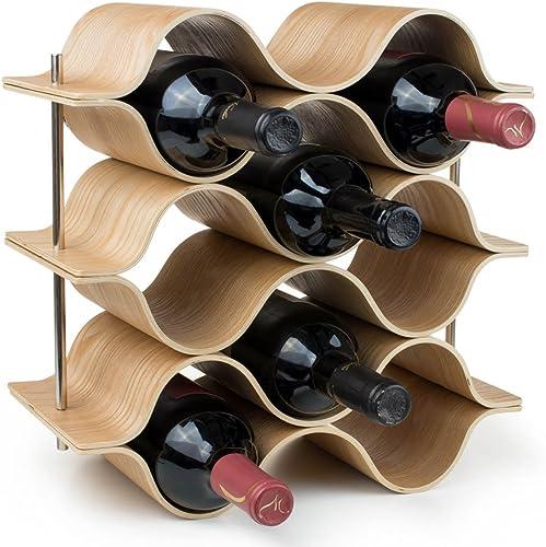 BREVER 8 Bottle Wooden Wave Wine Rack
