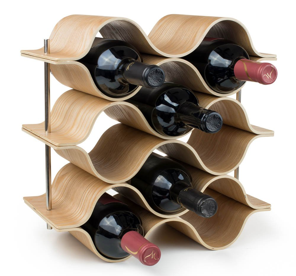 BREVER 8 Bottle Wooden Wave Wine Rack | Freestanding for Table, Bar or Counter |Modern Minimalist Design |Easy Assembly | Sweet and Dry Wines |for Small Home Wet Bar by BREVER