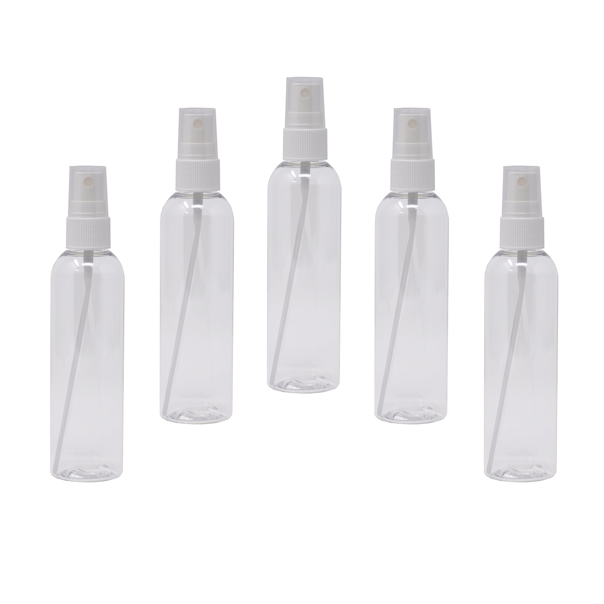 Plastic Spray Bottles Empty 4 oz with Fine Mist Sprayers PET BPA Free Materials Great for Essential Oil Sprays (5 Pack, Clear)