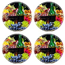 Luxlady Natural Rubber Round Coasters IMAGE ID: 23181741 Red wine in the autumn evening
