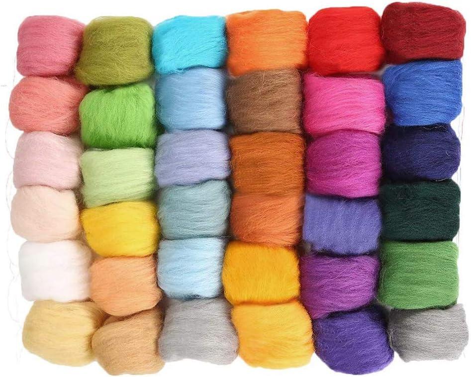 Fieltro de lana pintura de lana fibra de lana hilado itinerante Kit de itinerancia de lana para la fabricaci/ón de mu/ñecas pintura de fieltro