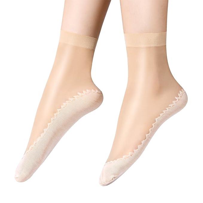 Anliceform calcetines de seda sexys para mujer, calcetines de tobillo de algodon con antideslizante. (Beige 1(10 Pares)): Amazon.es: Ropa y accesorios