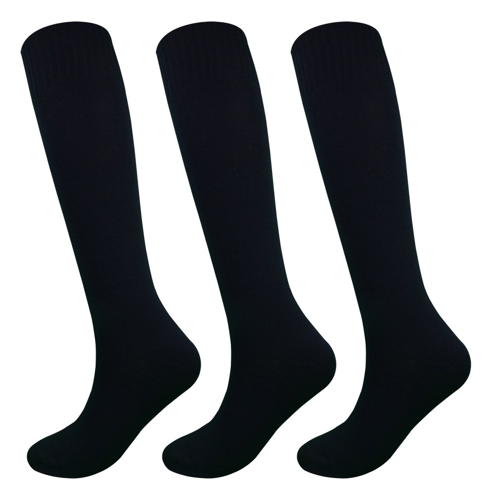 Fitliva Teen Juniors High Knee Athlete Long Tube Sports Socks (3Pack-Black) by Fitliva