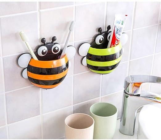 Malloom® Creativo abeja succión Potente Porta cepillo de dientes, Portacepillos de dientes (naranja)