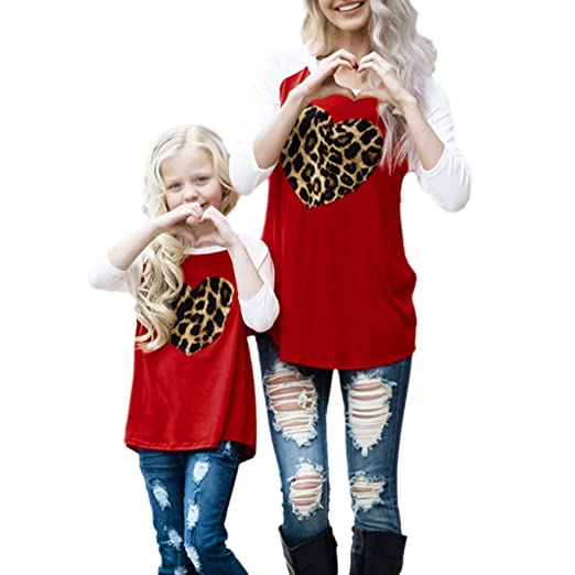 FimKaul Mommy Me Fashion Family Outfits Heart Leopard Print Half Sleeve Blouse Matching Shirt (Girls
