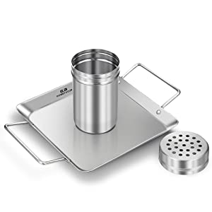 Beer Can Chicken Holder Stainless Steel Roaster Rack Includes Metal Canister and Drip Pan for Oven or Grill Smoker, Dishwasher Safe