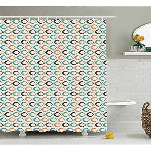 Fish Shower Curtain Retro Decor By Ambesonne, Retro Fish Pattern Underwater  World Aquatic Decorative Fun Art Prints, Bathroom Accessories, ...