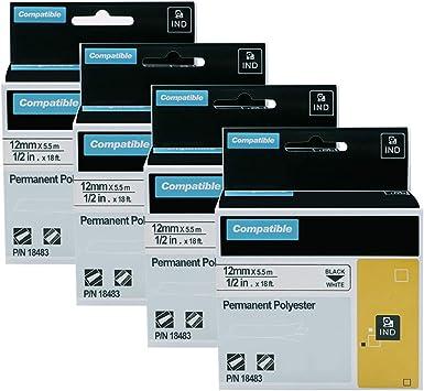 "3PK 1//2/"" Black on White Permanent Polyester Label 18483 For DYMO Rhino 4200 5200"