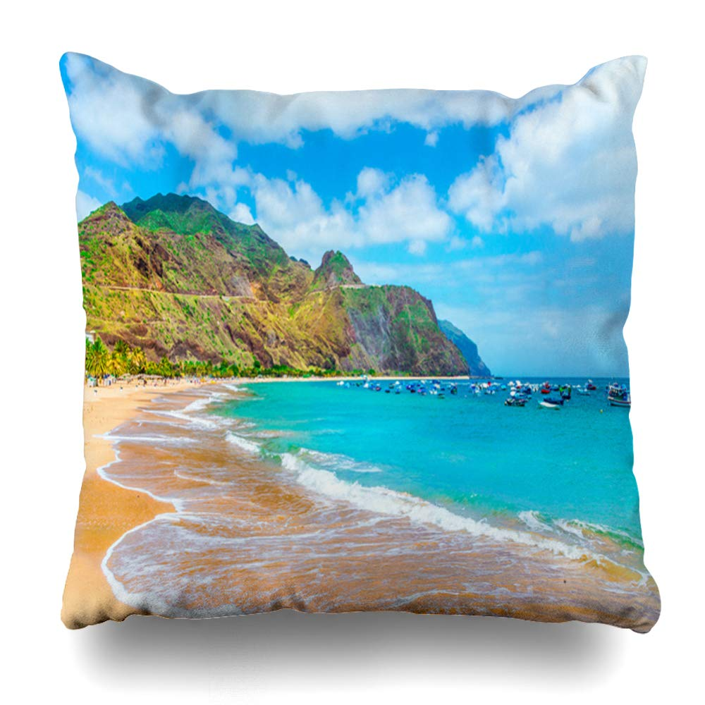 Amazon.com: Ahawoso Throw Pillow Cover Atlantic Blue Las ...