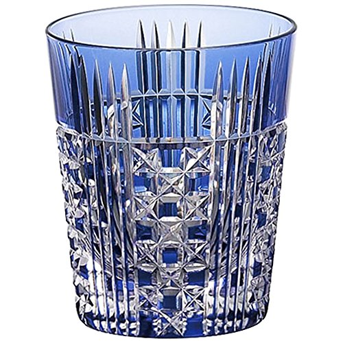 Square basket eye crest shochu glass T557-2471-CCB to five-groove Kagami Crystal Edo Kiriko Gin Seng shochu glass