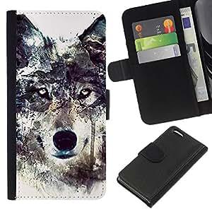 BearCase / Cuero de la tarjeta la carpeta del tirón Smartphone Slots Protección Holder /// Apple Iphone 5C /// Lobo Arte