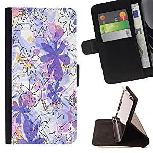 - Purple Floral Framing Make Up - Estilo PU billetera de cuero del soporte del tir???¡¯????n [solapa de cierre] Cubierta- For Samsung Galaxy S6 EDGE £¨ Devil Case £©