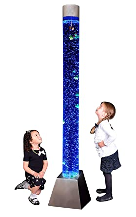 Playlearn Sensory Led Bubble Tube 6 Foot Tank With Fake Fish And Translucent Balls App Controlled Large Floor Lamp With 8 Changing Lights Colors