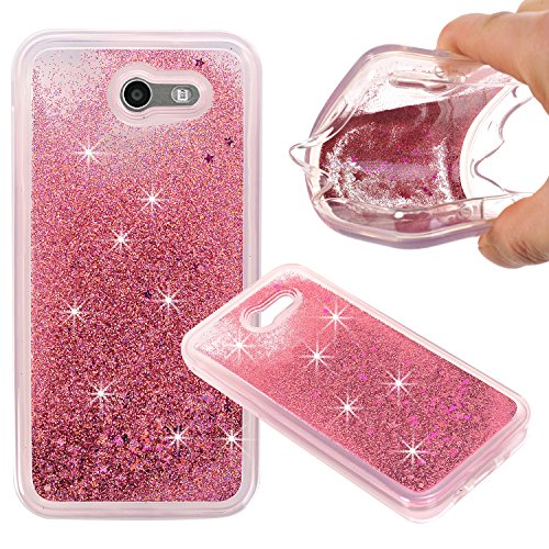 Price comparison product image Samsung Galaxy J3 Emerge,  Liquid Case,  Asstar Fashion Creative Design Flowing Liquid Floating Luxury Bling Glitter Sparkle Diamond Soft Case For Samsung Galaxy J3 Emerge / Galaxy J3 2017 (Rose Gold)
