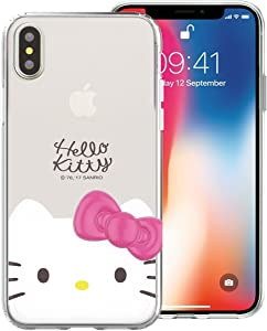 iPhone Xs Max Case Hello Kitty Face Cute Bow Ribbon Clear Jelly Cover [ iPhone Xs Max ] Case - Face Hello Kitty